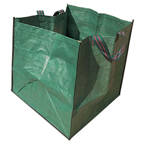 POHOVE 2 bolsas de basura de jardinería, reutilizables, resistentes, bolsas de basura cuadradas de 49,5 cm con asas para recoger hojas