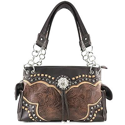 Justin West Rhinestone Concho Western Laser Cut Tooled Wristlet Wallet Shoulder Handbag Purse (Brown Purse)