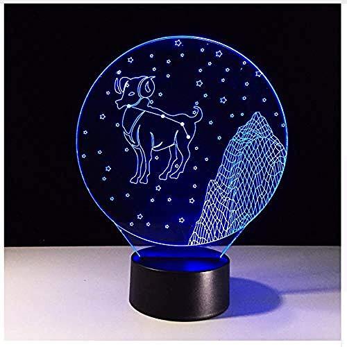 Lámpara de cambio de humor LED Aries 3D LED luz de noche moda usb dormitorio dormir iluminación de cabecera decoración oveja lámpara de mesa s día regalo caja de luz