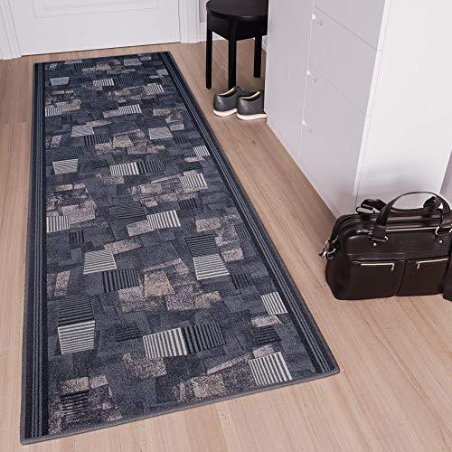 Tapiso Anti Rutsch Teppich Läufer rutschfest Meterware Modern Brücke Streifen Figuren Design Dunkelgrau Beige Meliert Flur Wohnzimmer 100 x 120 cm