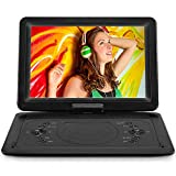 """16.8' Portable DVD Player with 14.1"""" Large HD Screen, Rechargeable Battery, Support USB/SD Card/Sync TV and Multiple Disc Formats, High Volume Speaker"""