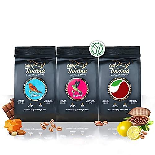 Café Tinamú Probierset | 3x 250 Gramm | Bio Arabica Kaffeebohnen für Vollautomaten | Bekömmlich und vollmundig | Hochlandkaffee aus Kolumbien