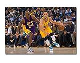 DPFRY Cuadro En Lienzo Stephen Curry Vs Kobe Bryan Baloncesto Poster Art Fabric Print Sport Pictures para Habitación Decoración De Pared Wxt48N 40X60Cm Sin Marco
