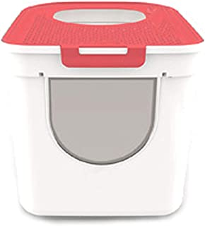 Tiancay Plastic Cat Litter Box with Large Space and Deodorization is Suitable for Indoor Use. Pet Supplies (Color : Red)