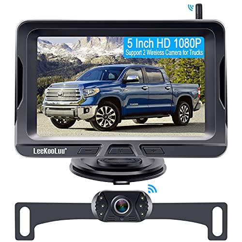 Wireless Backup Camera for Trucks with 5 Inch Monitor,HD 1080P Wireless Rear View Camera System for Car,Truck,SUV,Sedan,Support Add Second Wireless Camera for DIY Installation LeeKooLuu LK2