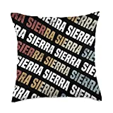 Custom Sierra Gifts & Designs for Girls Vintage First Name Pattern Retro Forename Gift for Sierra Throw Pillow, 18x18, Multicolor