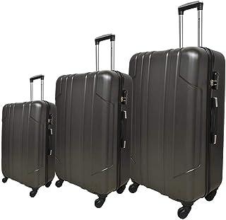 نيو ترافل حقيبة سفر صلبة بعجلات، 4 عجلات ، 3 قطع - لون رمادي