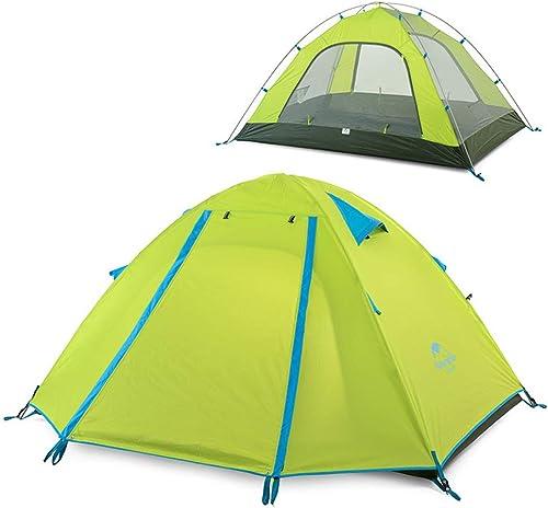 KD Tenda da Campeggio, Campeggio Esterno Doppio Palo in ALLUMINIO 3-4 Persone Tenda da Pioggia, escursionismo Pesca Famiglia Turistica Arrampicata, Azzurro bleu vert Arancio