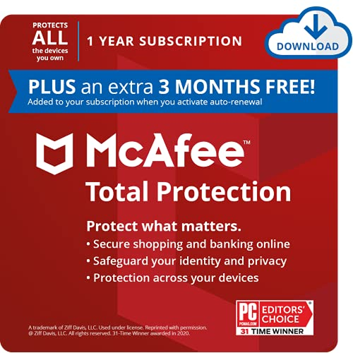 McAfee Total Protection 2021 Unlimited Devices, Antivirus Internet Security Software Password Manager, Parental Control, Privacy, 1 Year Subscription (PLUS an extra 3 MONTHS FREE) - Download Code