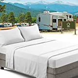RV/Short Queen Bed Sheets Set Bedding Sheets Set for Campers, 4-Piece Bed Set, Deep Pockets Fitted Sheet, 100% Luxury Soft Microfiber, Hypoallergenic, Cool & Breathable, White