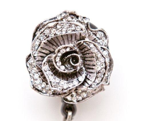 Sparkly Rose Rhinestone Retractable Badge Reel/ID Badge Holder