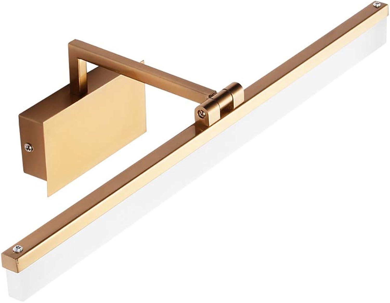 WWLONG Goldenes Spiegelkabinettlicht führte einfaches modernes feuchtigkeitsBestendiges Spiegelscheinwerferbadezimmer-Kosmetikspiegellicht des Badezimmers-Warm light-42cm