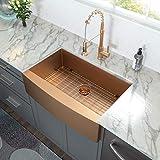 33 Farmhouse Sink - Lordear 33 inch Kitchen Sink Apron-Front Copper Tone Bronze 16 Gauge Stainless Steel Deep Single Bowl Kitchen Farm Sink Basin