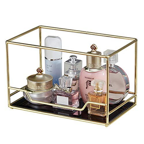 Vintage Mirrored Glass Stackable Perfume Tray/Gold Black Mirror Metal Palette/Mask Tray for Makeup &Jewelry Organizer Ornate Decorative Storage for Vanity/Bathroom Display (Bottom)