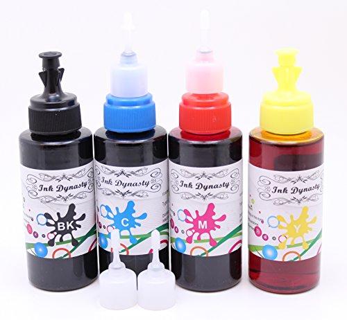 Ink Dynasty 400ML UV Resistant Dye Ink Refill Kit for Refillable cartridge Epson XP200 XP300 XP310 XP400 CIS Refillable CISS - Black, Cyan, Magenta, Yellow