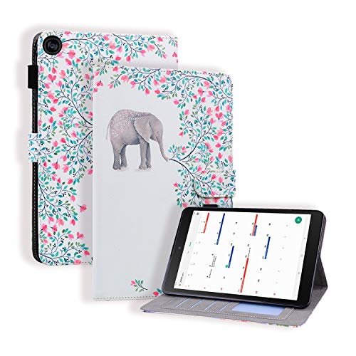 KimsCase for Samsung Galaxy Tab S5e 10.5 Inch SM-T720/T725 Case Leather Magnetic Pencil Holder Notebook Design Protective Pretty Cute Kawaii Dustproof Shockproof Bumper Funny Cover - Elephant