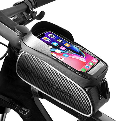 Evaduol Waterproof Bike Frame Bag - Large Capacity TPU Touch Screen Mountain Bike Bicycle Bag sunshade Front Frame Bag Riding Gear with Headphone Hole Suitable for Any Smart Phone Under 6 Inch.