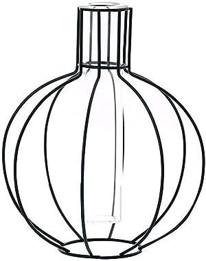 Gespout Vase Hydroponique Créatif Vase en Verre Géométrique Vase en fer Forgé Vase de Fleur Ornement Décoratif pour Balcon Bu