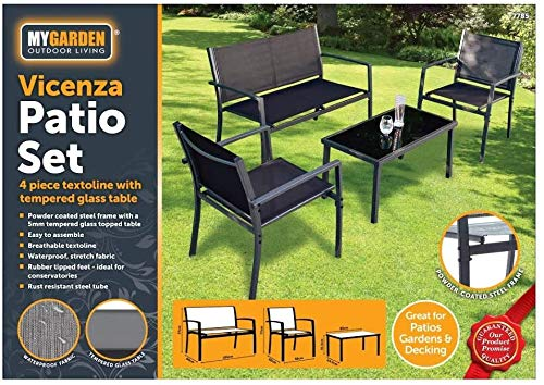 E-Bargains 4 Piece Garden Furniture Set with Textoline Chairs and Sofa for 4, Tempered Glass Topped Coffee Table Rubber Tipped Feet for Indoor Conservatory or Outdoor Patio Garden Furniture