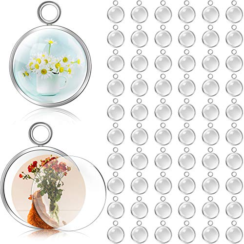 120 Pieces 12 mm Stainless Steel Pendant Tray Round Kit Including 60 Pieces Round Frame Tray Blank Pendant Bases and 60 Pieces Clear Glass Cabochons for DIY Jewelry Making