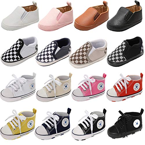 Baby Boys Girls Basic Canvas Sneaker Lace Up Infant Prewalk Shoes Brown 12-18 Months