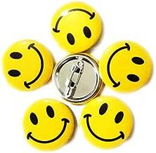 LGEGE 48pcs Mini Metal Smiley Smile Face Button Pins