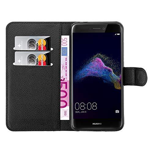 mangao Huawei P8 lite 2017 Hülle, Hochwertige Flip Hülle Tasche aus Premium Leder, schwarz mit Magnetverschluss Handyhüllen