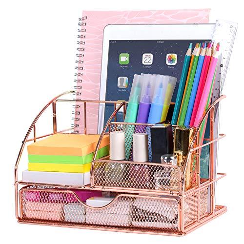POPRUN Kinder Schreibtisch Organizer Utensilienschalen Tischorganizer mit Stiftablagen/Stifthalter und Schublade aus Metall Netz Rosegold