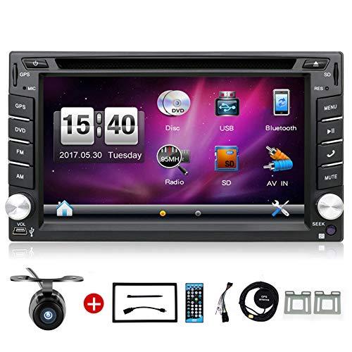Double Din YUNTX Voiture stéréo dans la Navigation GPS de Tableau de Bord avec vidéo, Bluetooth, USB, DVD, Radio à écran Tactile de 6,2 Pouces avec caméra de recul pour n'importe Quelle Voiture
