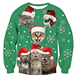 TUONROAD Christmas Sweatshirt Unisex Ugly Gato 3D Impreso Sudadera di Navidad Divertida Crew Neck Manga Larga Jersey Suéter para Hombres Mujeres - XL