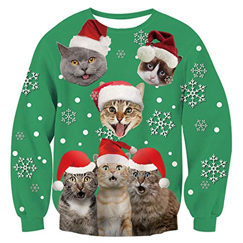 TUONROAD Unisexe Ugly Christmas Sweater Chat 3D Imprimé Xmas Graphique Pull Santa Manches Longues...