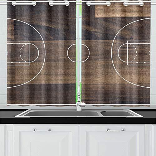 JOCHUAN Basketballplatz-Grundriss auf hölzernen Küchenvorhängen Fenster Vorhangebenen für Café, Bad, Wäscherei, Wohnzimmer Schlafzimmer 26 X 39 Zoll 2 Stück
