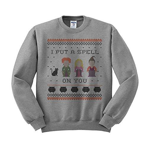 I Put a Spell on You Hocus Pocus Sweatshirt Unisex 2X-Large Grey