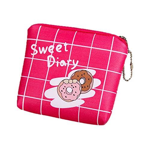 JoyRolly Niedlichen Cartoon Geldbörse PU-Leder Brieftasche Beutel mit Reißverschluss Aufbewahrungstasche für Kreditkarte, Headset, Lippenstift, Schlüssel A