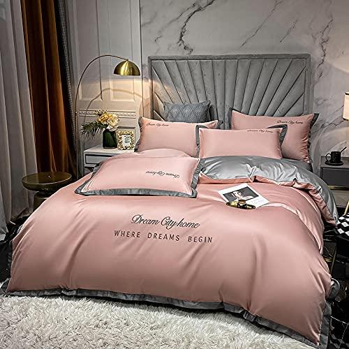 juego de funda nórdica negro,Conjunto de colchas de lino de cama de cuatro conjuntos, colores sólidos europeos lavado de agua seda cómoda reversible de la cama de respiradero para padres regalos fami