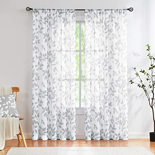 Grey White Sheer Curtains Living-Room 84 inches Light Filtering Rural Gray Leaf Print Window Treatment Sets for Bedroom Country Style Botanical Garden Linen Textured Draperies 1 Pair Rod Pocket