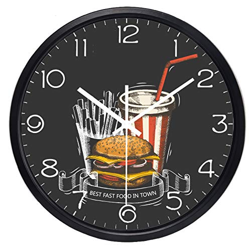 yaoyao Muur Klokken Voor Keuken Fast Food Winkel Wandklok Hamburger Hot Hond Franse Fries Cola Heerlijk Niet - Ticking Klok Office Home Decor Gift