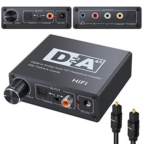 192KHz Coaxial óptico Convertidor de audio digital a analógico Adaptador de audio HiFi Estéreo Amplificador de auriculares SPDIF Toslink Convertidor coaxial a analógico para PS3 Xbox DVD Amp 3.5mm