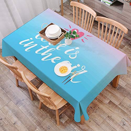 Mantel Antimanchas Rectangular Impermeable,Cita, Love is in The Air Phrase for Romantic Couples on Pink and Blue Bac,Manteles Mesa Decorativo para Hogar Comedor del Cocina,(140 x 200 cm/55*78 pulgada)