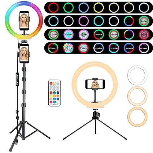 RGB Anillo de Luz LED, MICCYE Aro de Luz con Tripode con 28 Colores RGB, 10 Niveles de Brillo Aro de Luz para Movil para TIK Tok Live Selfie Vlog Youtube