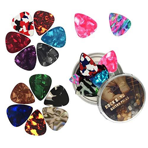 Xinmeng 16 Stück Gitarre Plektren Set, Variety Colors Acoustic Guitar Pick, Mix von Größen 0.46/0.71/0.96/1.20 (mm) 4 Verschiedene Stärke für Akustische Elektro und Bassgitarren