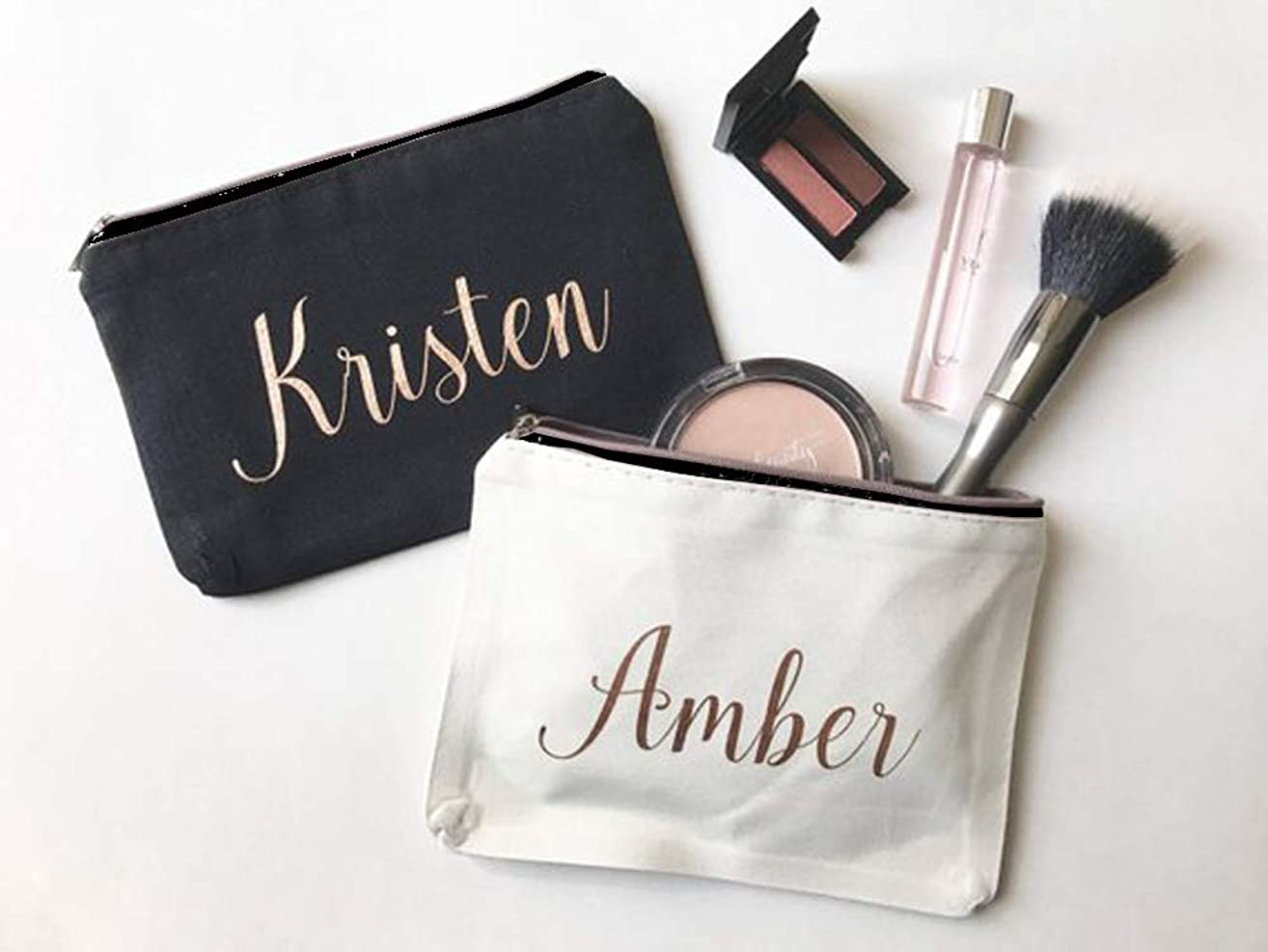 High quality Personalized Makeup Bag, Bridesmaids Gift, Custom Cosmetic Bag, Rose Gold, Gifts for Her, Bridal Party Presents, Customizable. Price for one bag