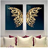 Abstract Golden butterfly wings set Pictures Wall Art Print on Canvas picture print Modern Painting for Living Room Home Decor-50x70x2Pcscm Sin marco