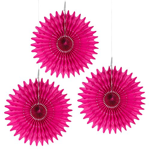 """Floral Reef Set of 3-16"""" FUCHSIA Paper Tissue Rosettes Fan Medallions Hanging Home Decoration Wedding Party (3 Pack)"""