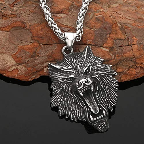 YCYR Collar de Cabeza de Lobo de Acero Inoxidable para Hombre, Mitología Vikinga Nórdica Ferozmente Fenrir Colgante de Joyería con Cadena Bizantina Vintage,Dragon Chain