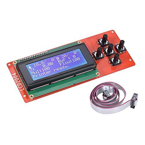 Aibecy 3D Drucker Controller, 2004 LCD Intelligent Anzeigen Bildschirm Regler Modul mit Kabel zum RAMPS 1.4 Mega Pololu Schild Schrott 3D Drucker Kit Zubehör