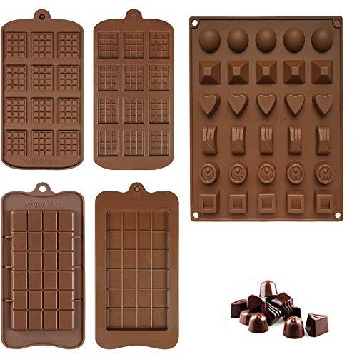5 Pièces Moule à Chocolat en Silicone, Moule à Praliné au Chocolat, Moules à Tablette de Chocolat Anti-adhésifs, pour Faire Chocolats, Pâtisseries, Bonbons (3 Styles)