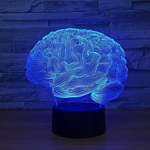 Lámpara deslizante 3D con forma de cerebro, interruptor táctil que cambia de 7 colores, luz nocturna LED 3D, lámpara de mesa acrílica, luz ambiental