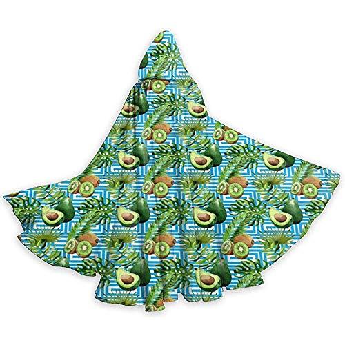 Not Applicable Hojas Tropicales Palmera Kiwi Aguacate Capa Unisex con Capucha Capa Larga con Capucha Disfraces de Fiesta de Halloween Navidad Cosplay Negro