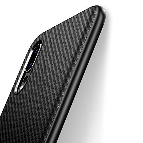 J Jecent Funda Huawei P20 Pro [Textura Fibra de Carbono] Carcasa Ligera Silicona Suave TPU Gel Bumper Case Cover de Protección Antideslizante [Anti-Rasguño] [ Anti-Golpes] - Negro